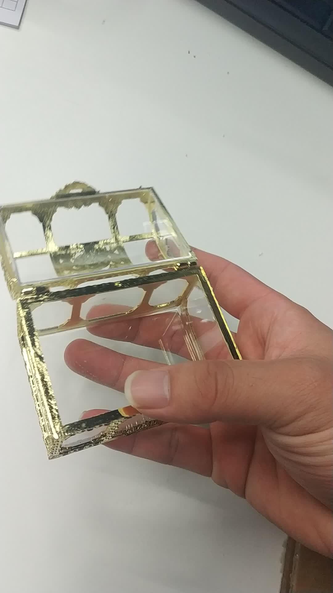 กล่องที่ระลึกงานแต่งงานสมบัติลูกอมกล่องซิลเวอร์โกลด์พลาสติกใสทารกฝักบัวกล่องขนมพลาสติก