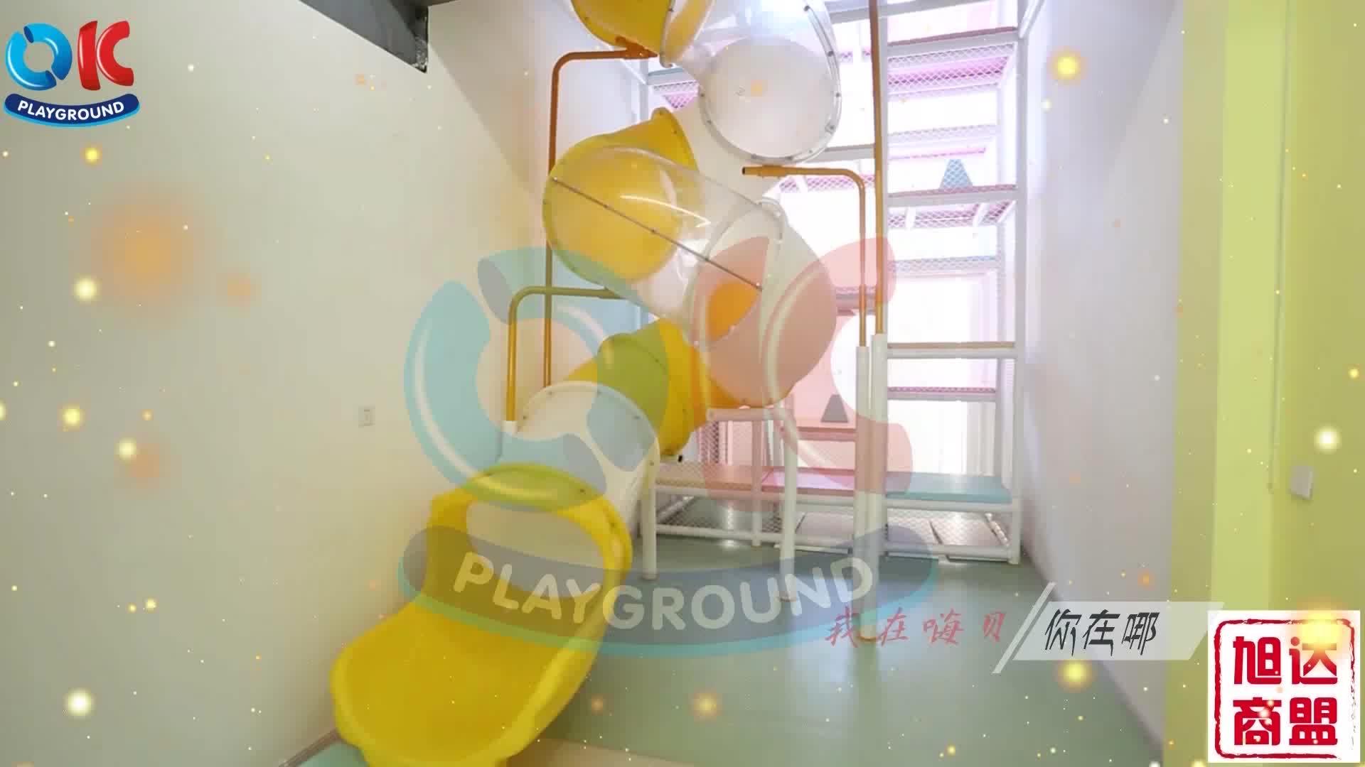 Di alta Qualità Per Bambini Spazio A Tema Parco Giochi Al Coperto con grandi scivoli in vendita