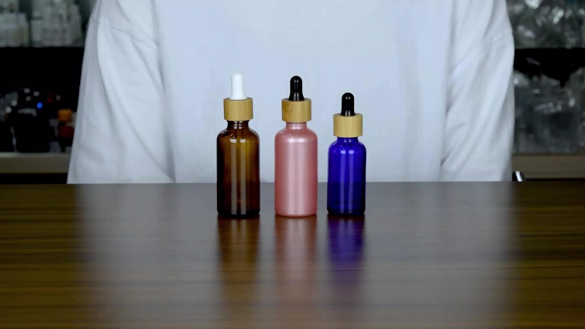 10ml 30ml 50ml bamboo dropper essential oil bottle 30ml 1oz amber glass serum bottle skin care package amber glass bottle