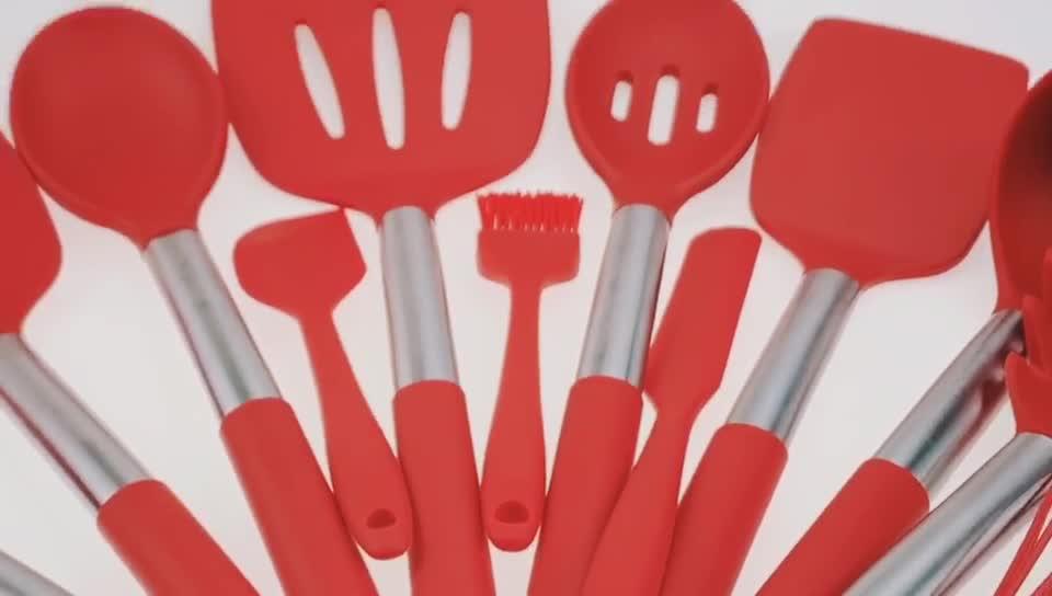 Amazon en çok satan silikon mutfak gereçleri kayın kolu mutfak setleri nane yeşil pişirme araçları