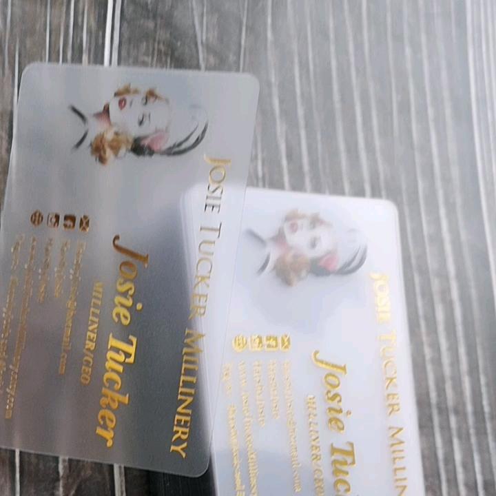 투명 플라스틱 방문 카드 명함 사용하여 금박