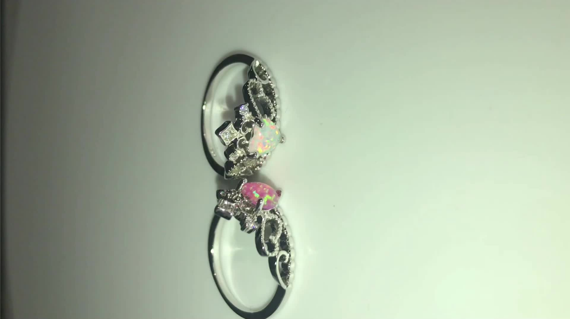 Ring frau S925 sterling silber herz geformt weiß opal crown ring