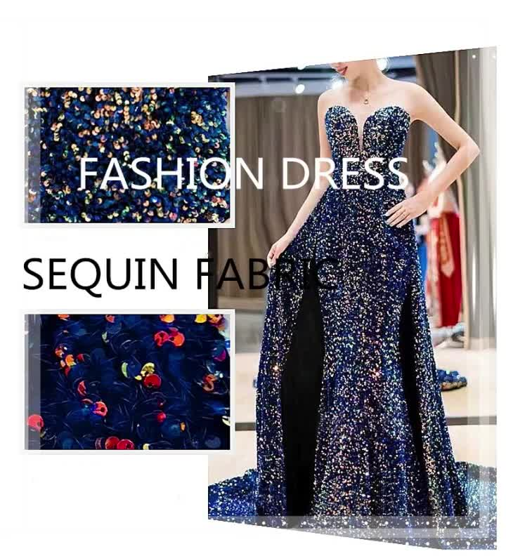 New product 2020 polyester organza 3mm reversible material mesh dress sequin lace fabric