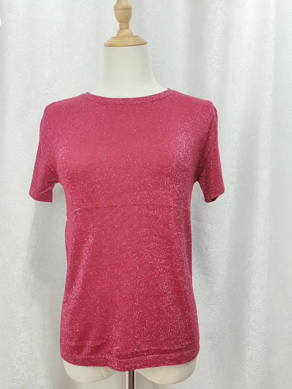 Phụ Nữ Áo Thun Làm Bóng Lỏng Áo Dệt Kim Áo Len O-Cổ Ngắn Tay Áo Giản Dị Của Phụ Nữ T-Shirt Dệt Kim Tops Đối Với Phụ Nữ