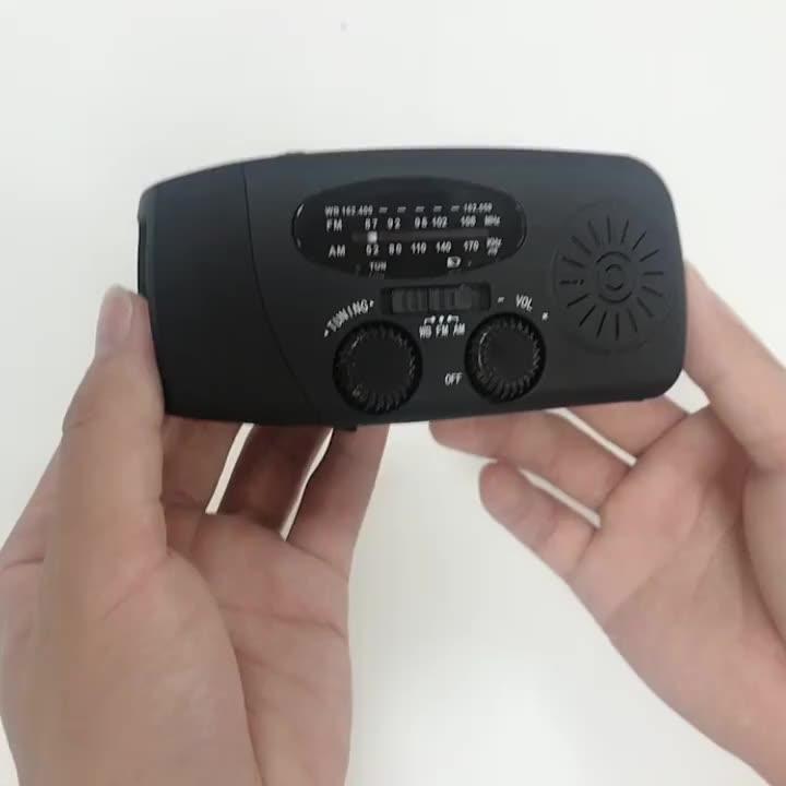 Emergency Hand Crank Self Powered AM/FM NOAA Solar Weather Radio with LED Flashlight 1000mAh Power Bank