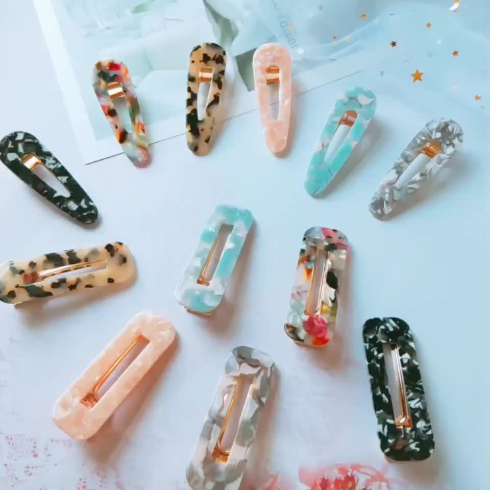 2019 New Arrival Hollow Geometric Glitter Resin Acrylic Hairclip Set Fashion Cute Child Acetate HairClips For Girls