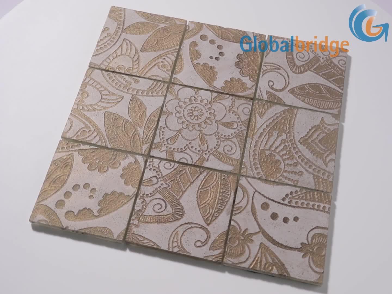 Flower patterned glass tiles mosaic pieces kitchen backsplash tile