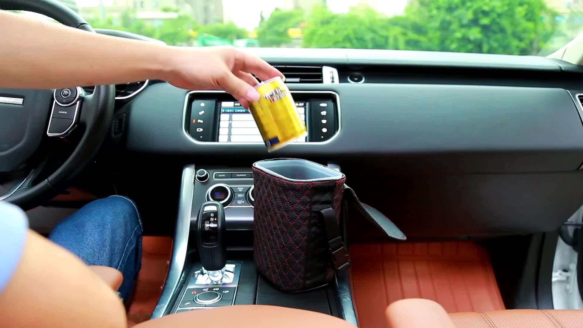עור מפוצל leakproof רכב חזרה ארגונית אשפה אשפה המלטת תיק יכול
