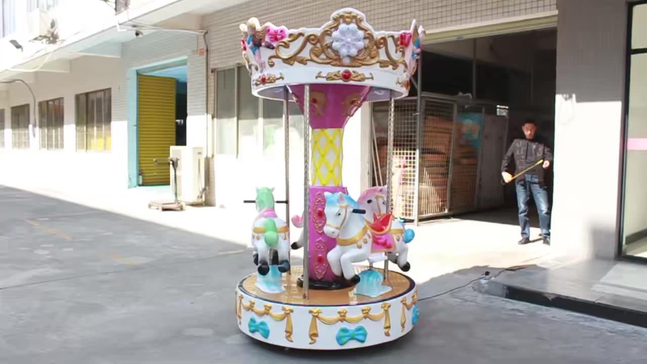 Populer 3 Seaters Pasar Malam Merry-Go-Round Anak-anak Carousel Kiddie Ride Indoor Mesin Permainan