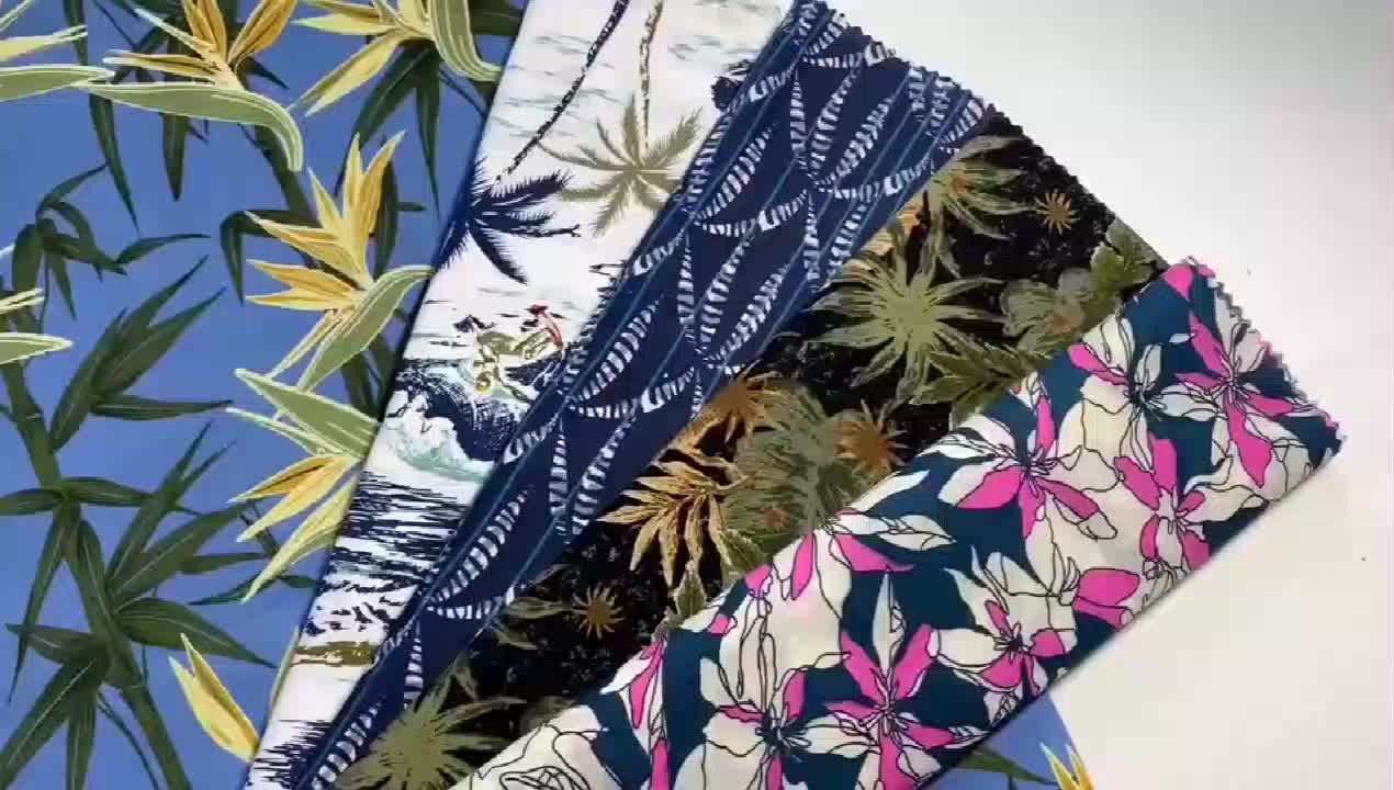 green hawaii leaf design 32s coton material satin cotton stretch shirts fabric with print for beach