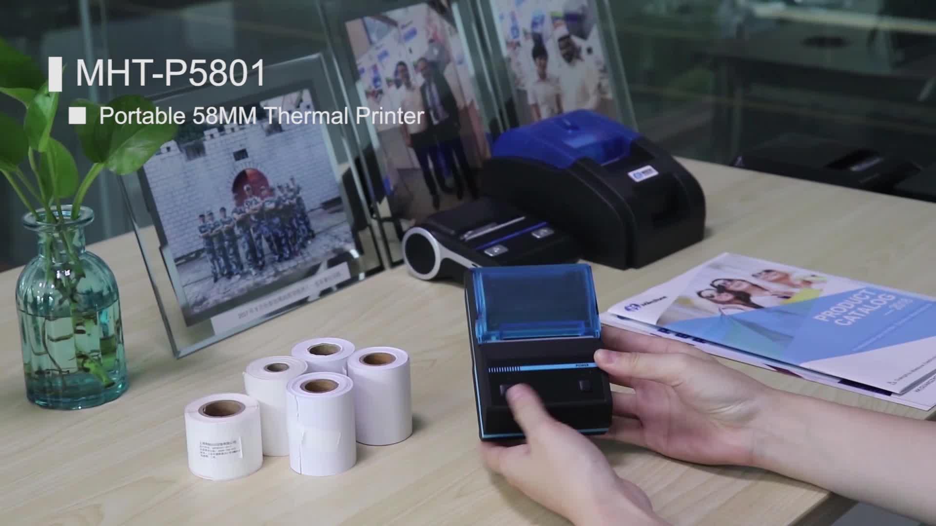 ราคาถูกมินิบลูทูธไร้สายแบบพกพามือถือAndroidเครื่องพิมพ์ความร้อนMHT-P5801