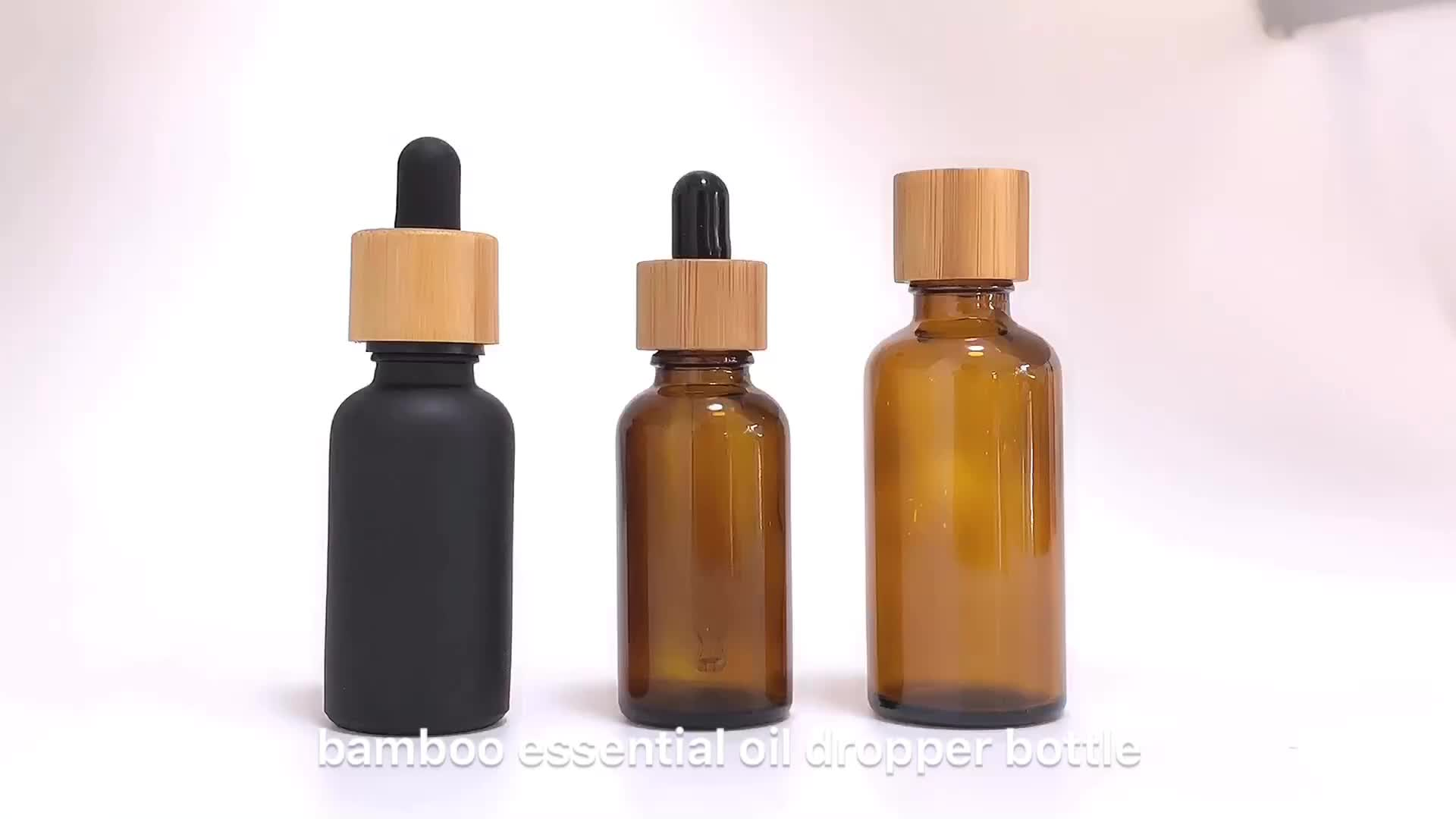 30ml Amber glass essential oil bottle with bamboo dropper cap