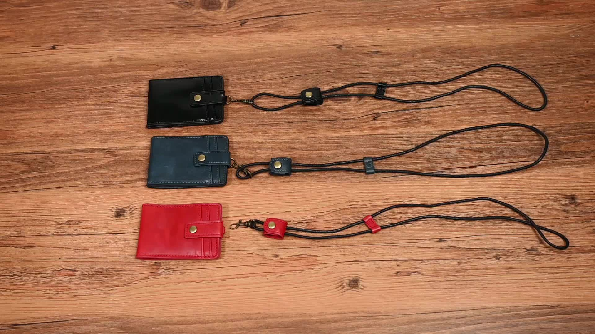 In Stock High Quality Genuine Leather ID Card Holder with Lanyard