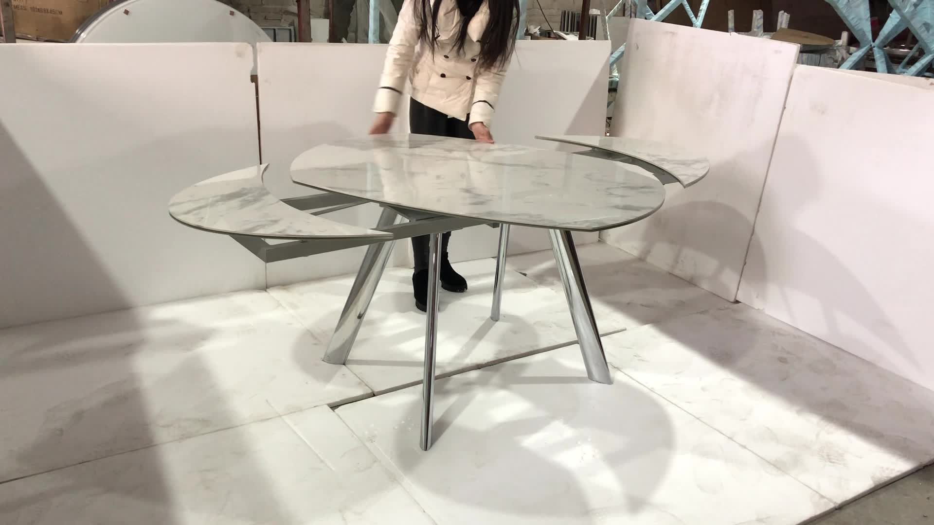 Round Extendable Marble Pattern Dining Table Malaysia Hot Sale Buy