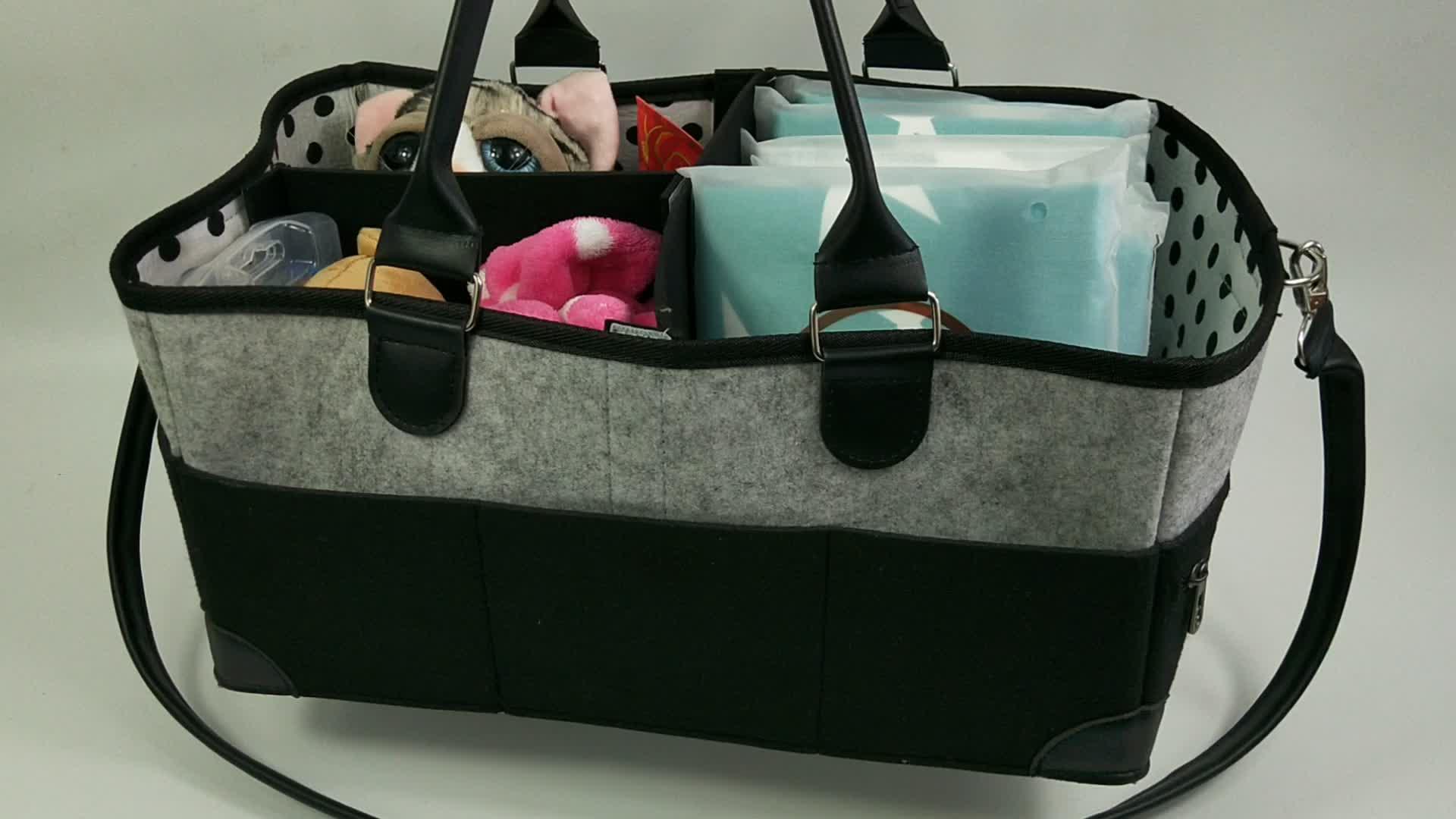 Polyester Felt Material Diaper Caddy Organiser Baby Nappy Storage Nursery Bin Felt Basket Wipes Bag