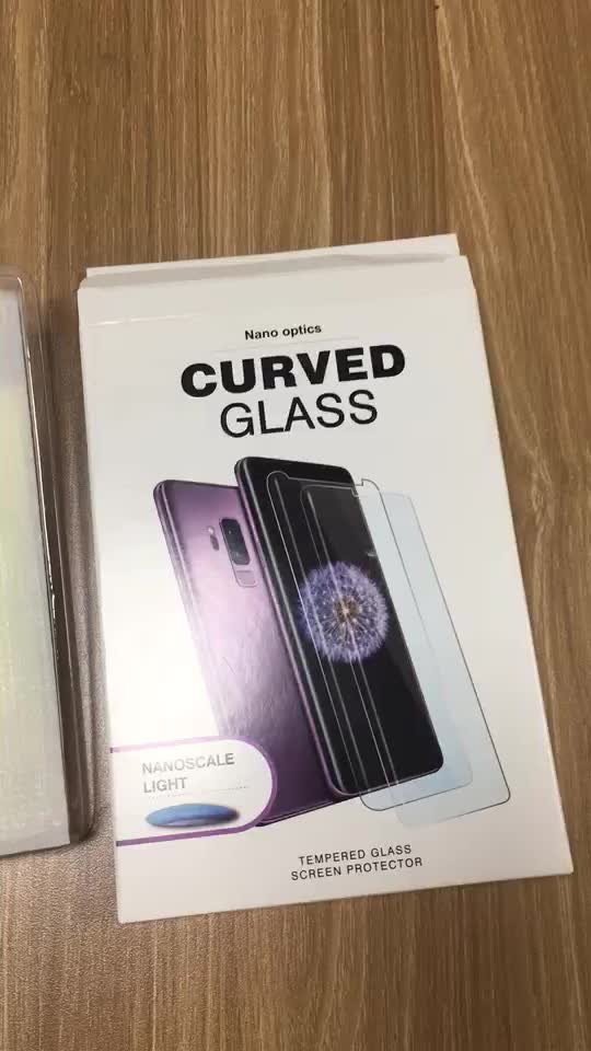 For Samsung Galaxy Note 9 Curved Tempered Glass Screen Protector Full Adhesive Liquid UV Glue Glass Easy Removed