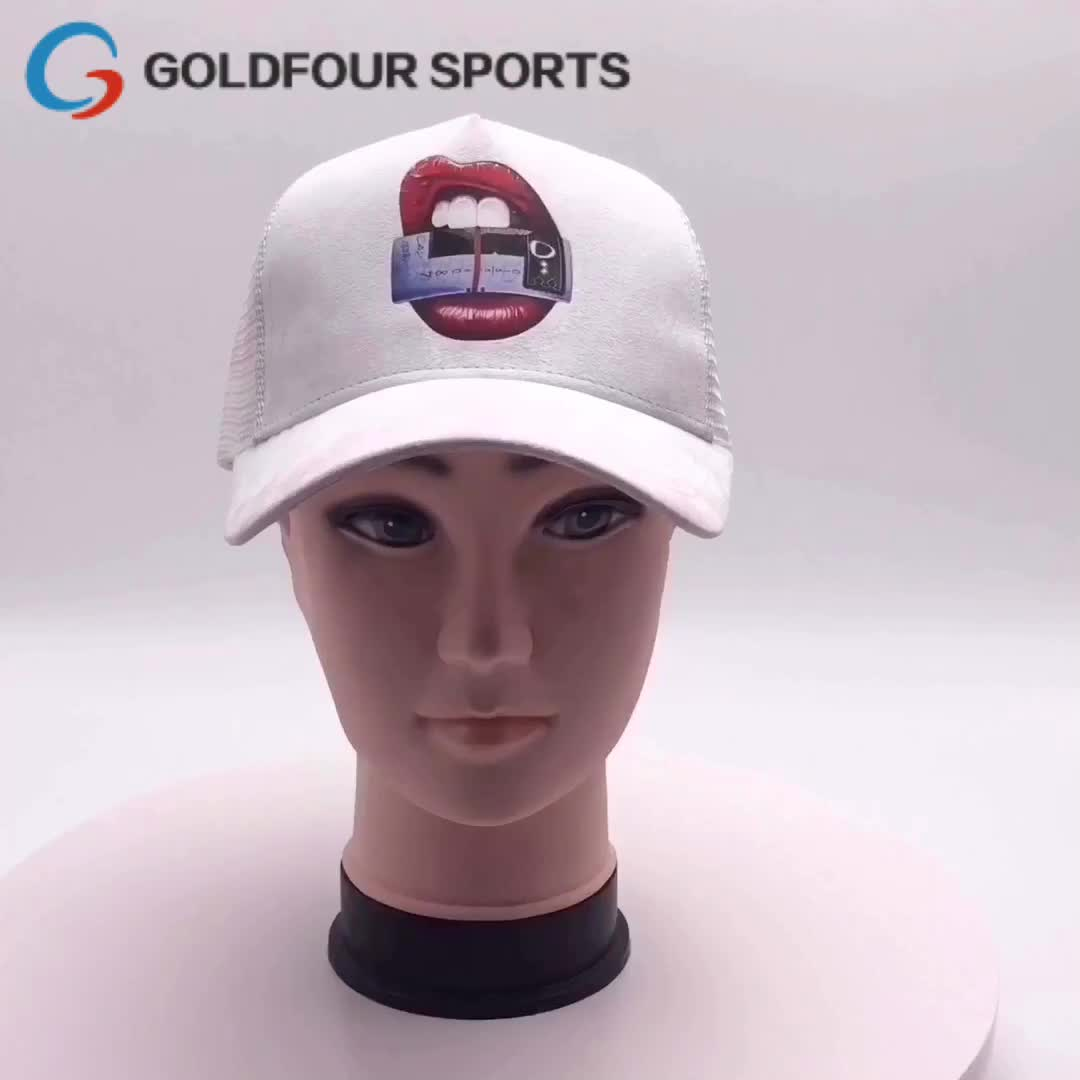 Custom Suede Trucker Mesh Hats With Sublimation Printed Baseball Cap, Gorras Trucker Caps