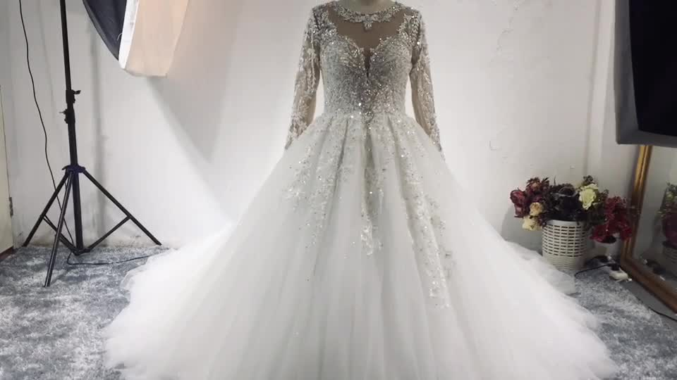 RSW1547 New Product Real Sample Crystals Long Sleeves Luxury Wedding Dress Bridal Gown Latest Wedding Gowns 2019