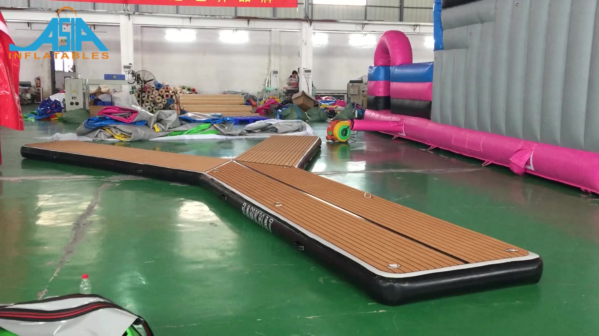 Drop Stich teak top jetski schwimm aufblasbare jet ski dock Aufblasbare Y Ponton Parkplatz Station Für Boot Parkplatz