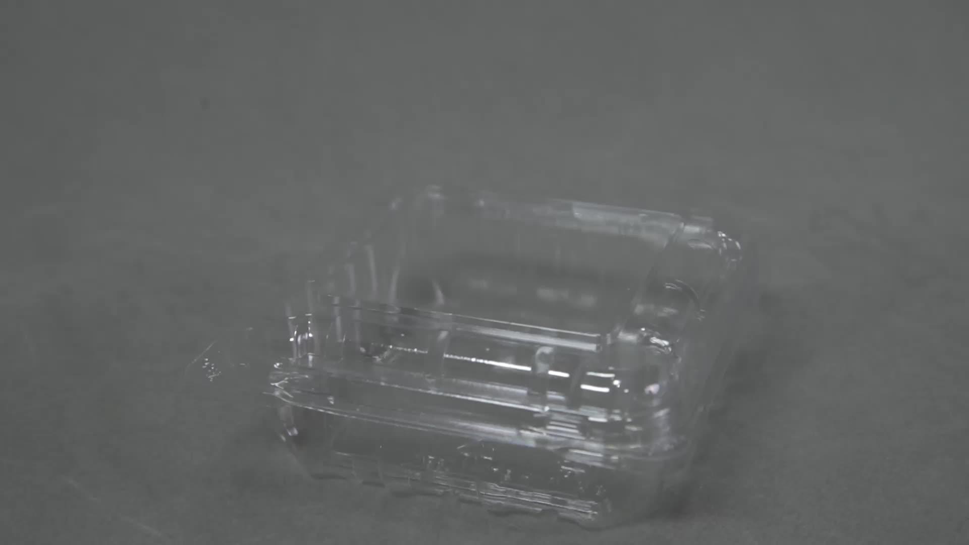 Descartável caixa de embalagem blister clamshell personalizado embalagem de comida de plástico pet clara recipiente de frutas de mirtilo 125g fresco