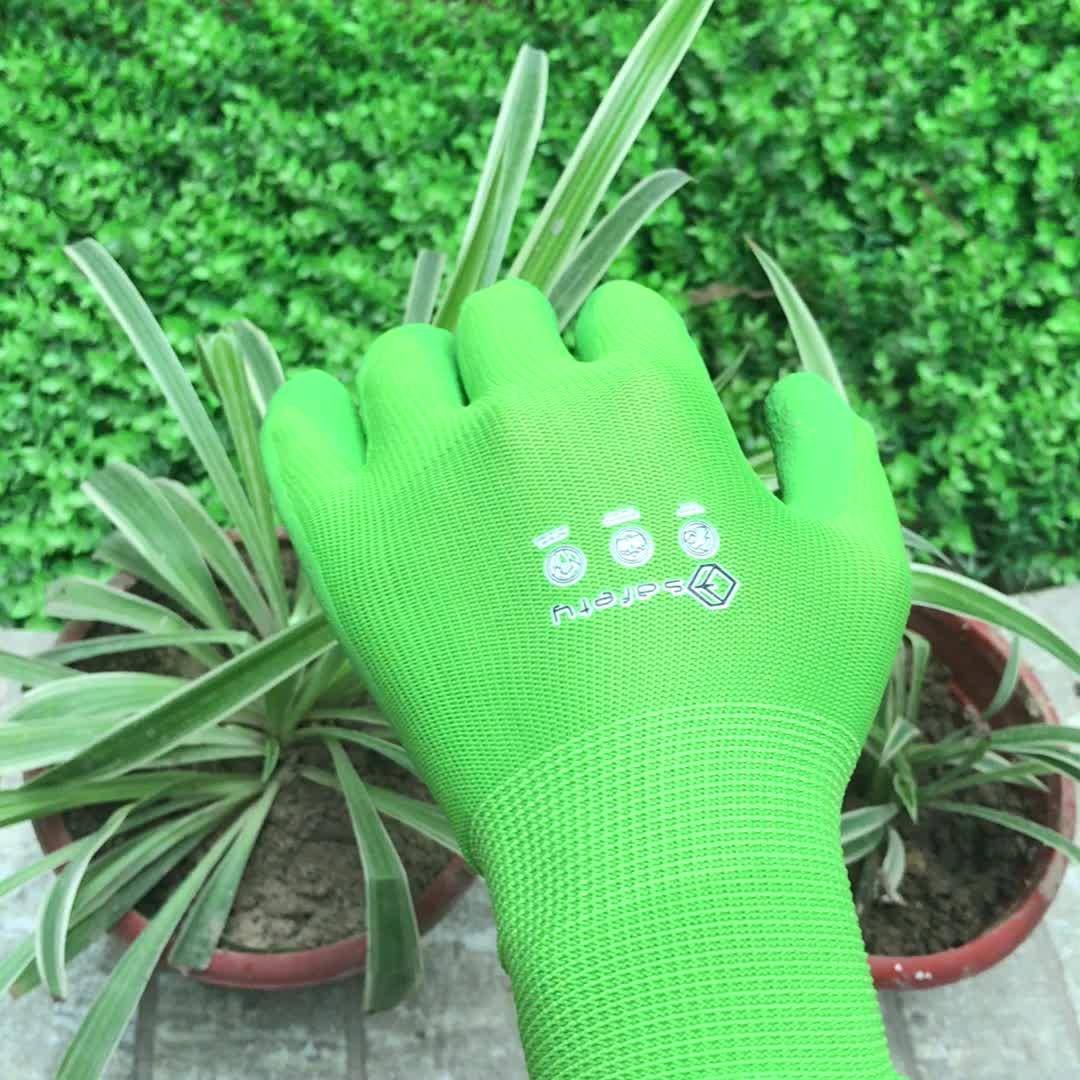 Flower print garden glove latex coated garden glove