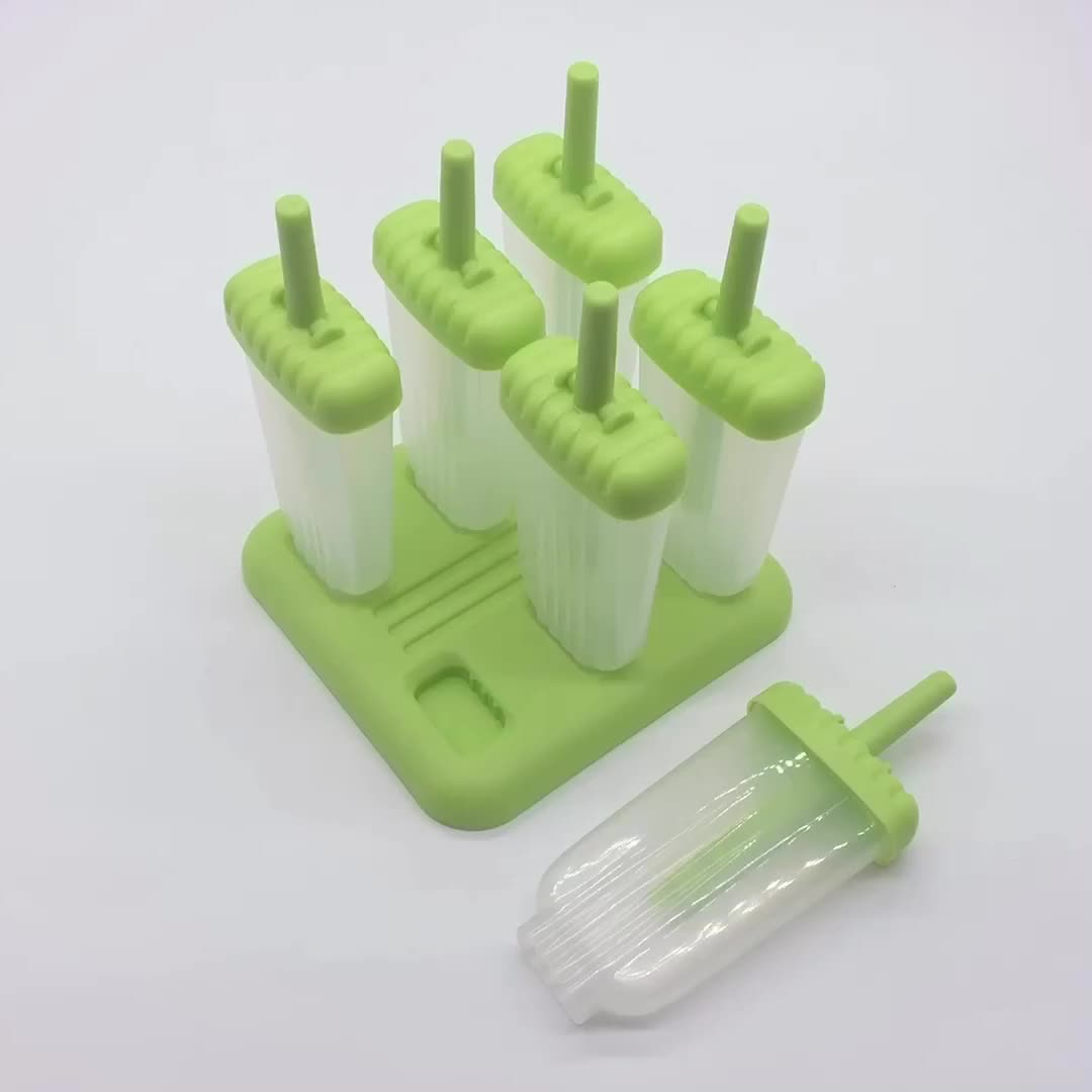 BPA free 6 Pack Reusable Homemade Popsicle Molds Plastic Ice Pop Molds