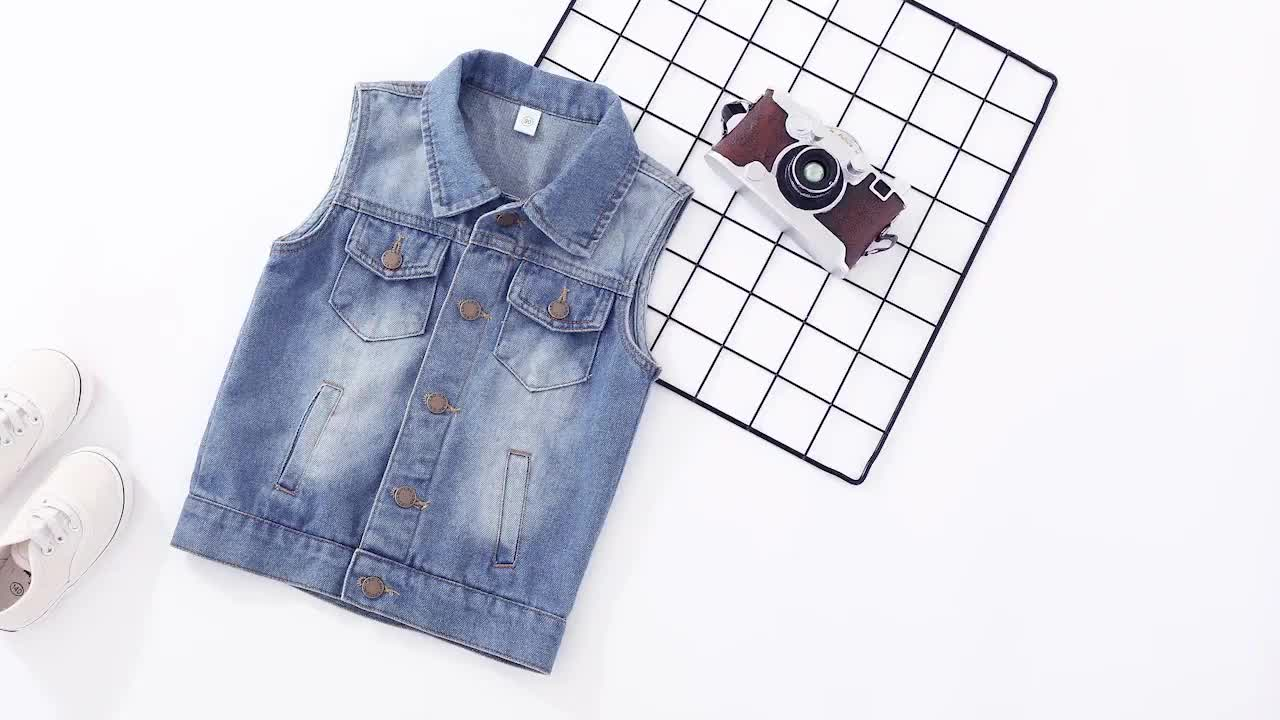 Spring and autumn new baby tide solid color simple sleeveless kids denim vest alsy300