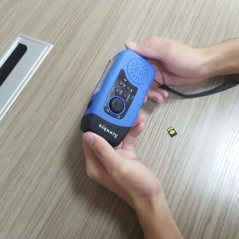 Manivela de emergência Solar Rádio FM MP3 Player Gravador Digital Portátil com 2000mAh Banco De Potência Lanterna LED