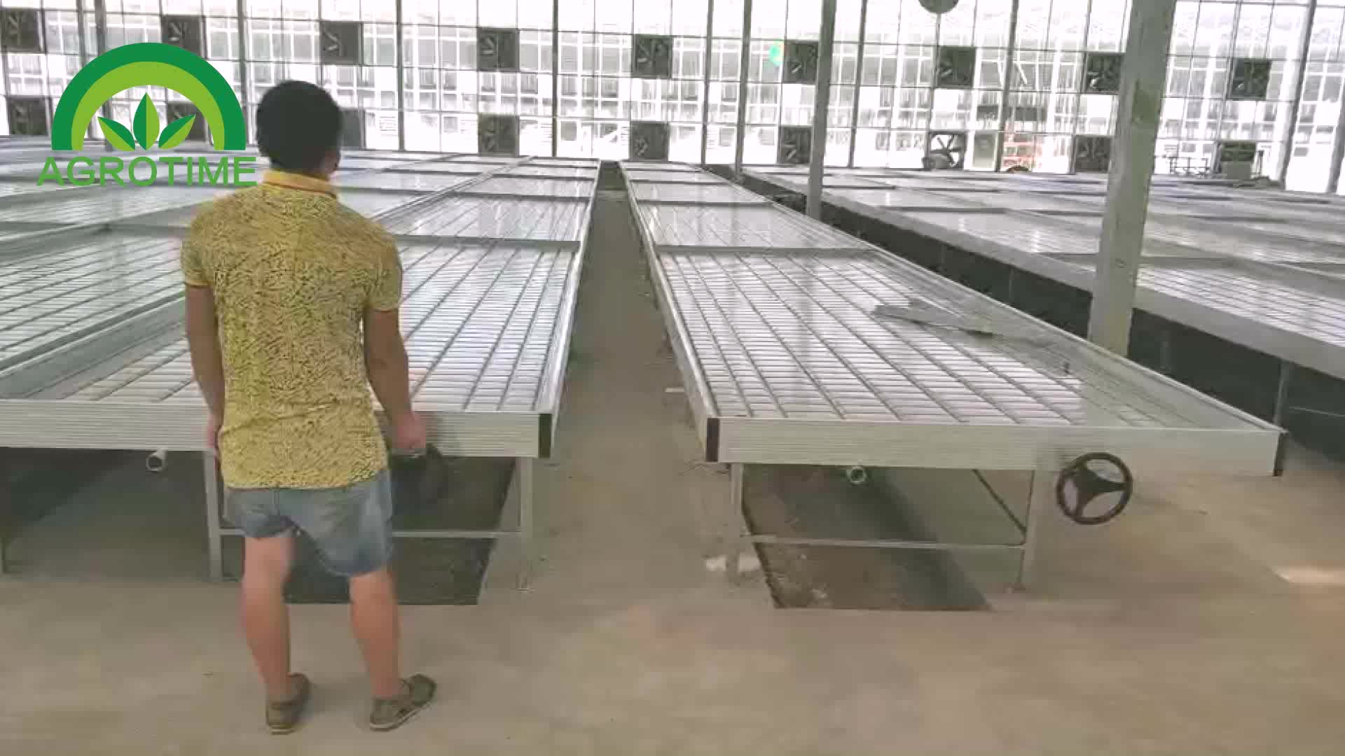 Ebb and flow tables of micro green trays vertical farming systems