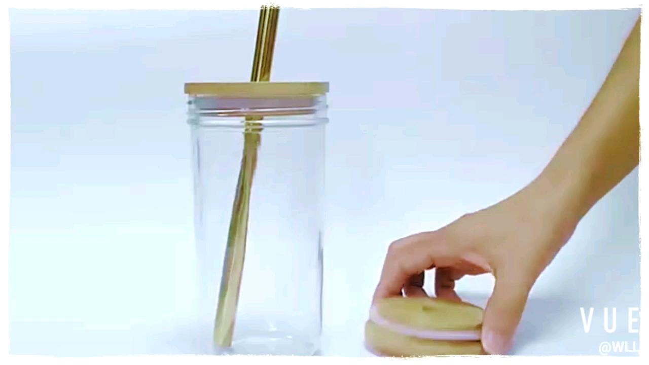 Menbank commercio all'ingrosso 600ml bocca larga rotondo di vetro muratore vaso con coperchio di bambù e di paglia
