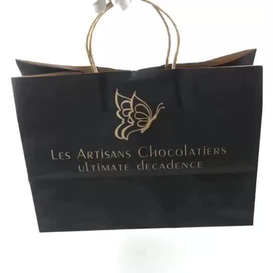 Оптовая продажа Пользовательские печати логотипа одежда крафт бумага сумка черная печать для мужчин Спортивная обувь