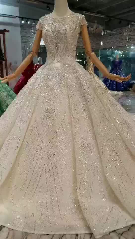 Jancember LS11284  bridal gown fabrics long dress chiffon new style  dress elegant short sleeve muslim wedding dress for girls