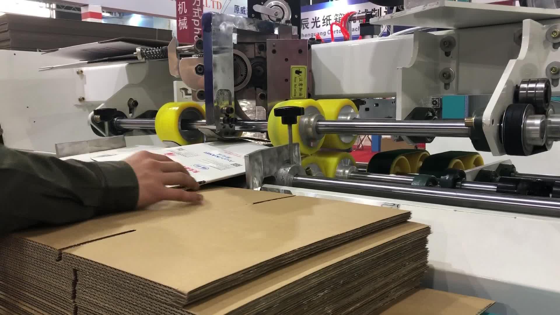 Semi-auto papier box doppel stücke hohe geschwindigkeit karton box nähen maschine