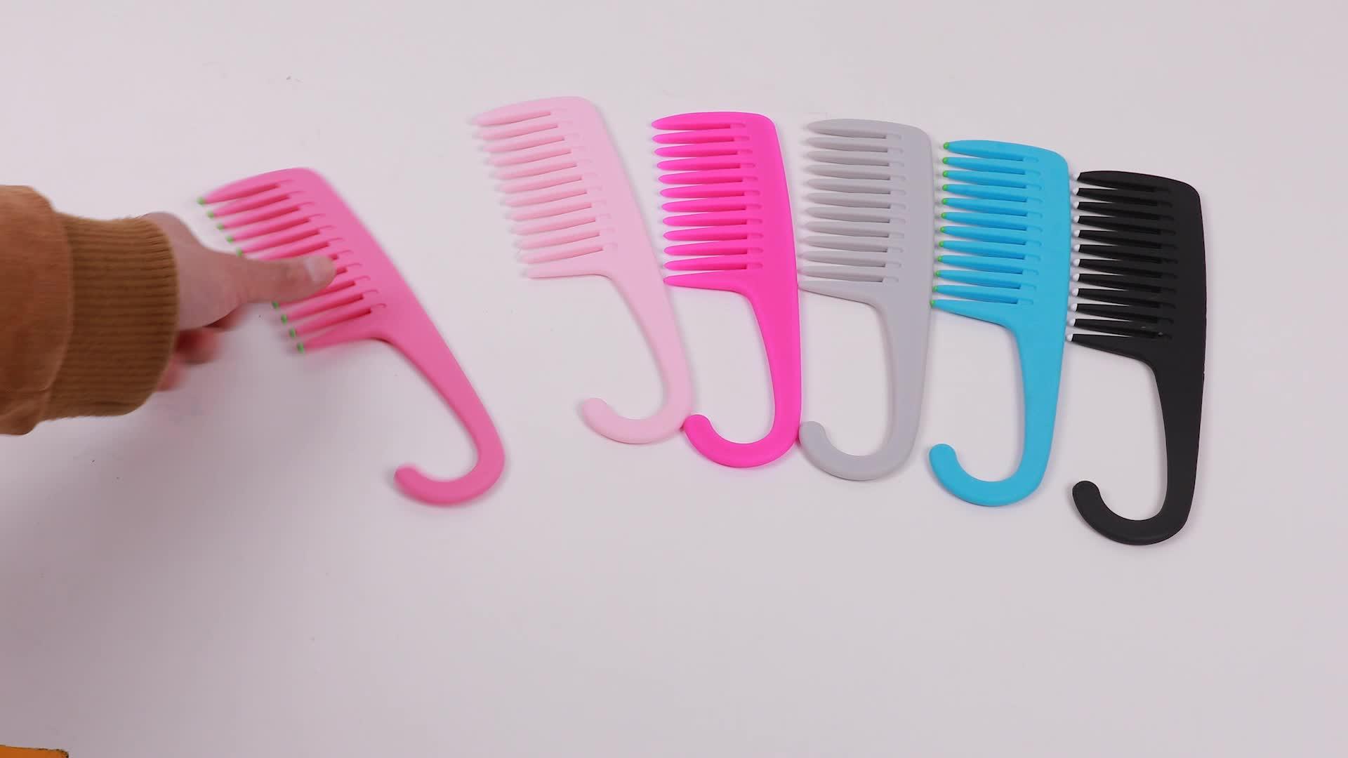 מכירה לוהטת פלסטיק רחב שן שיער מסרק אמבט מקלחת שיער מסרק עם וו לתליית מסרק שיער מברשת