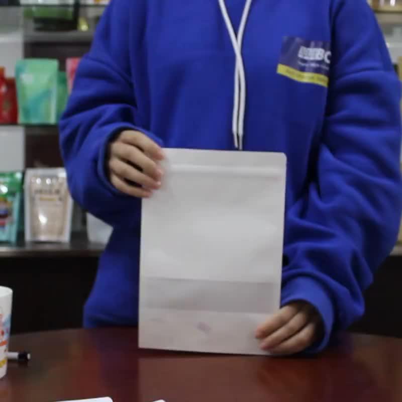 12*20 Food grade ziplock stand up white kraft paper bag with window