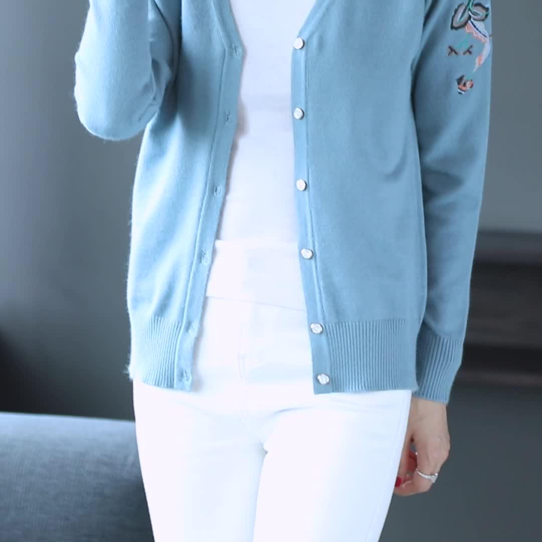 秋冬新スタイルの長袖ニット刺繍カーディガンセーター