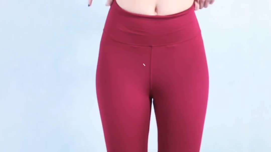 New Products Gym Sports Spandex  Elastic Waist Wine Red Cropped Women Yoga Leggings