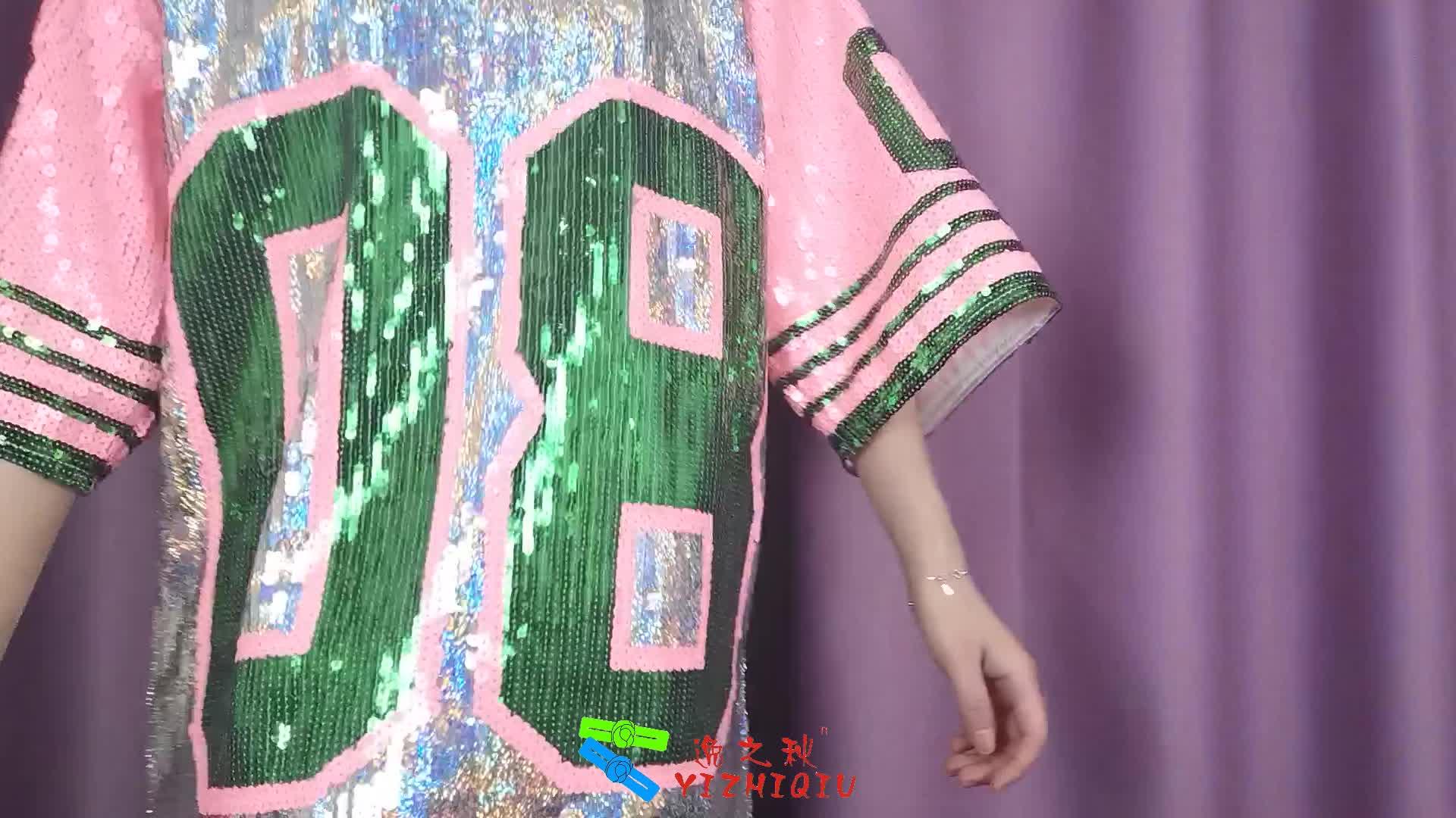 YIZHIQIU women custom plus size women clothing sequin shirt dress