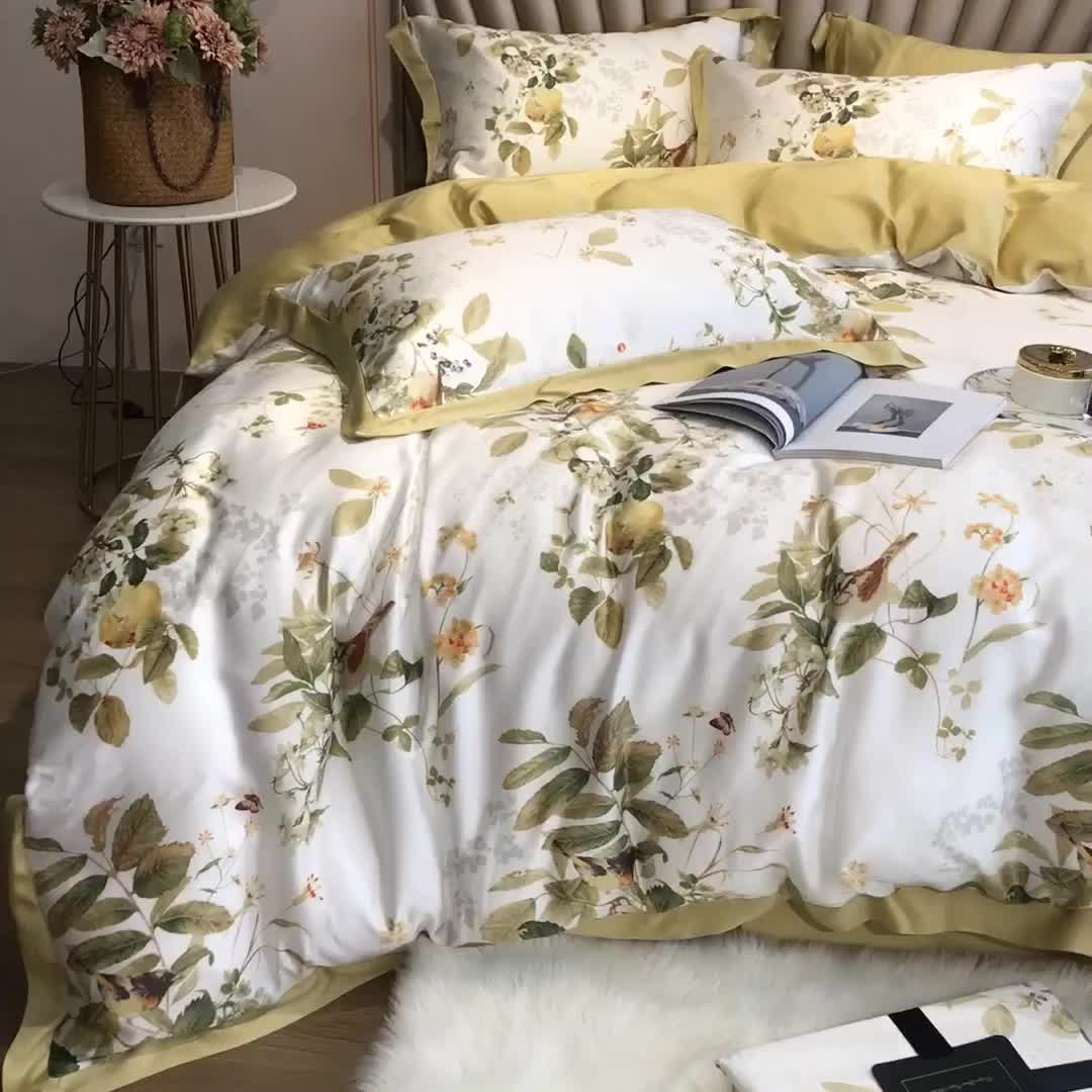 Solid color bed sheet printed home soft bedding set 100% encrypted egyptian long-staple cotton
