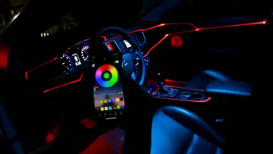멀티 컬러 USB RGB LED 자동차 인테리어 조명 키트 분위기 네온 램프 자동차 액세서리