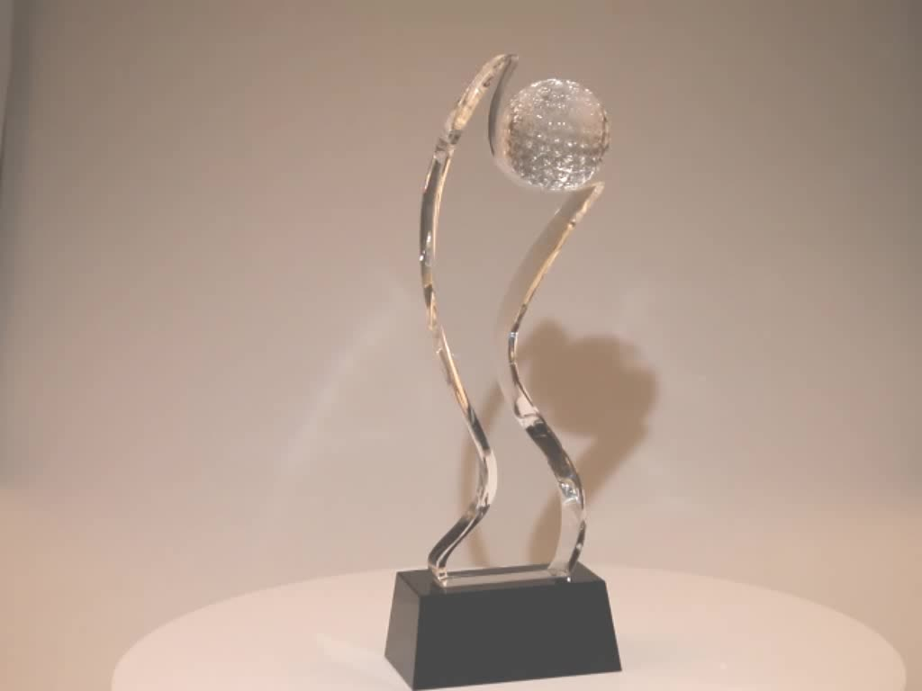Pujiang brand new creative design sports competition carving fine gifts award custom souvenir blank K9 golf crystal trophy