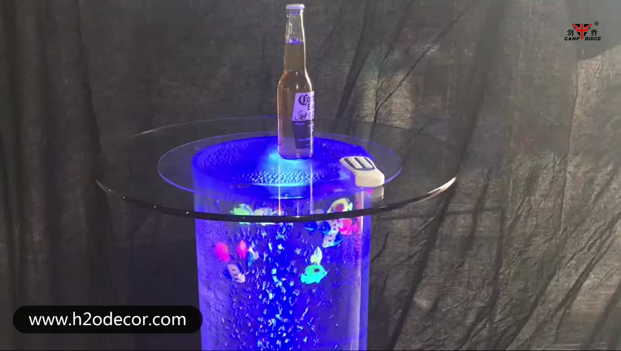 Modern led color changing club round bar table furniture