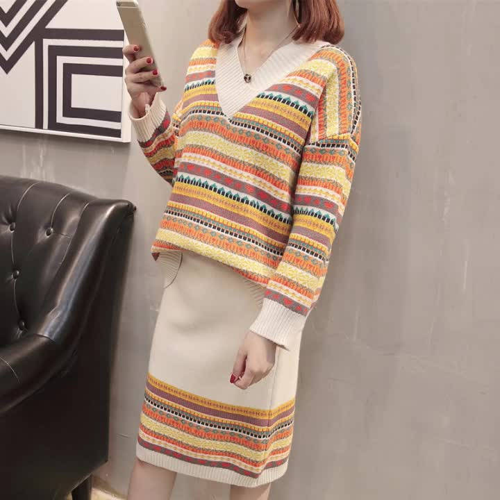 Hot sale korean style plus size women v neck stripe knitted top and half skirt set