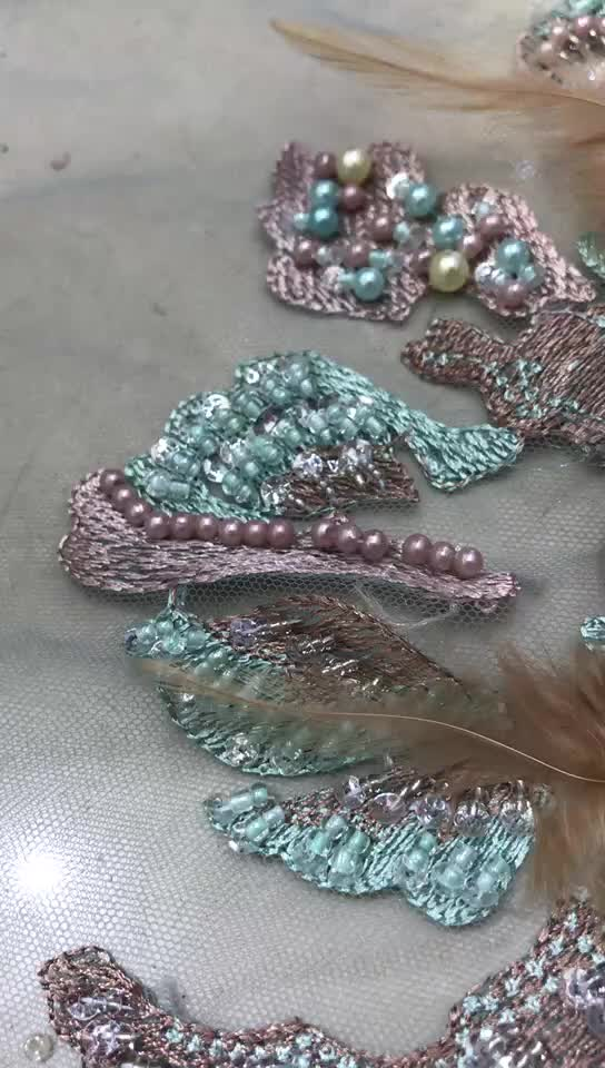 Embroidery Lace Flower Tulle 3d With Beads French Beaded Heavy Handwork Embroidered Fabric