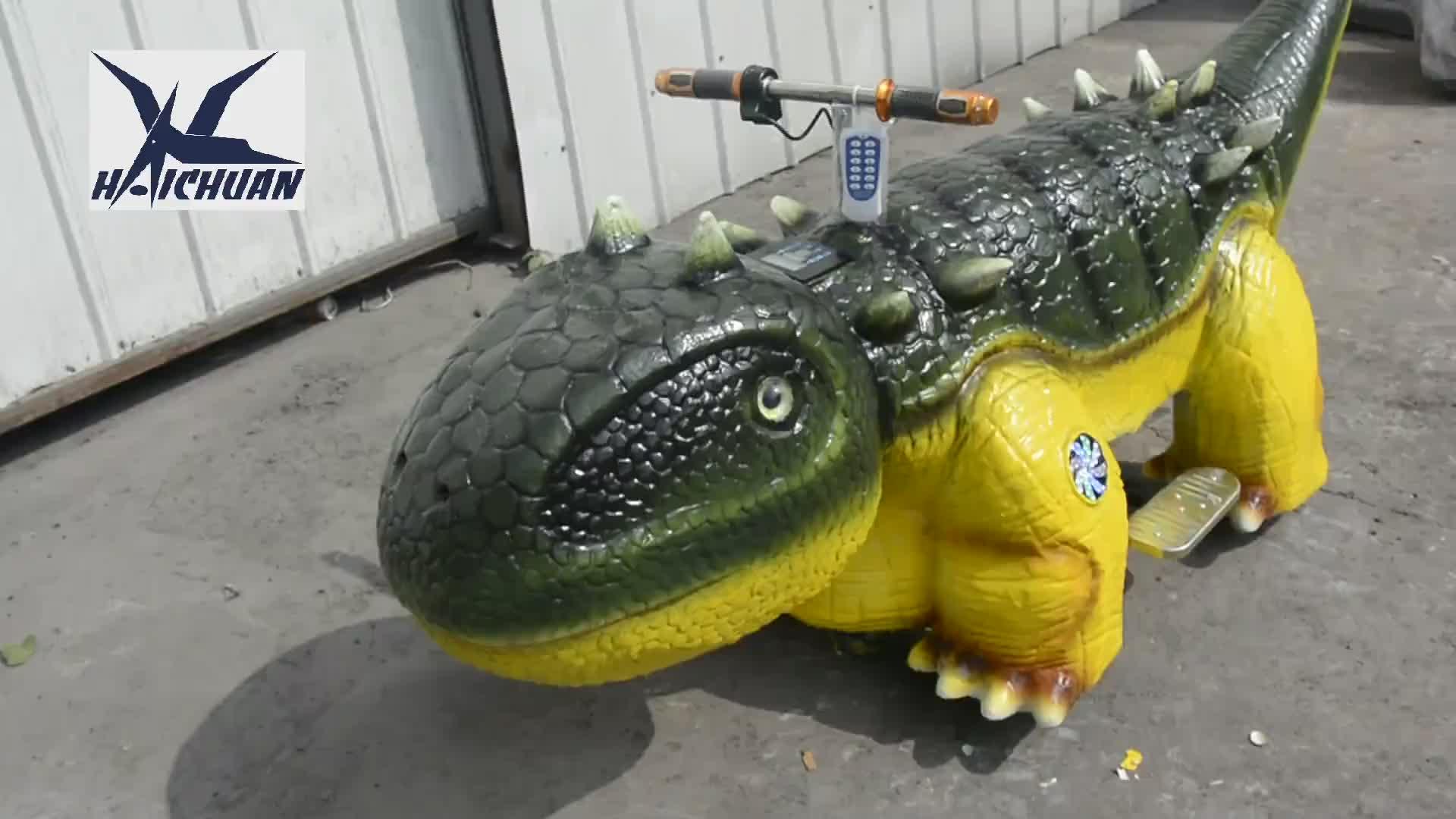 아동 워킹 Animatronic 공룡 스쿠터 타기