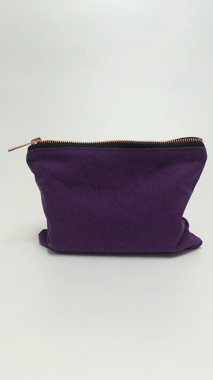 Purple cotton canvas pouch cosmetic makeup bag with poly cotton lining rose gold zipper & custom logo printing