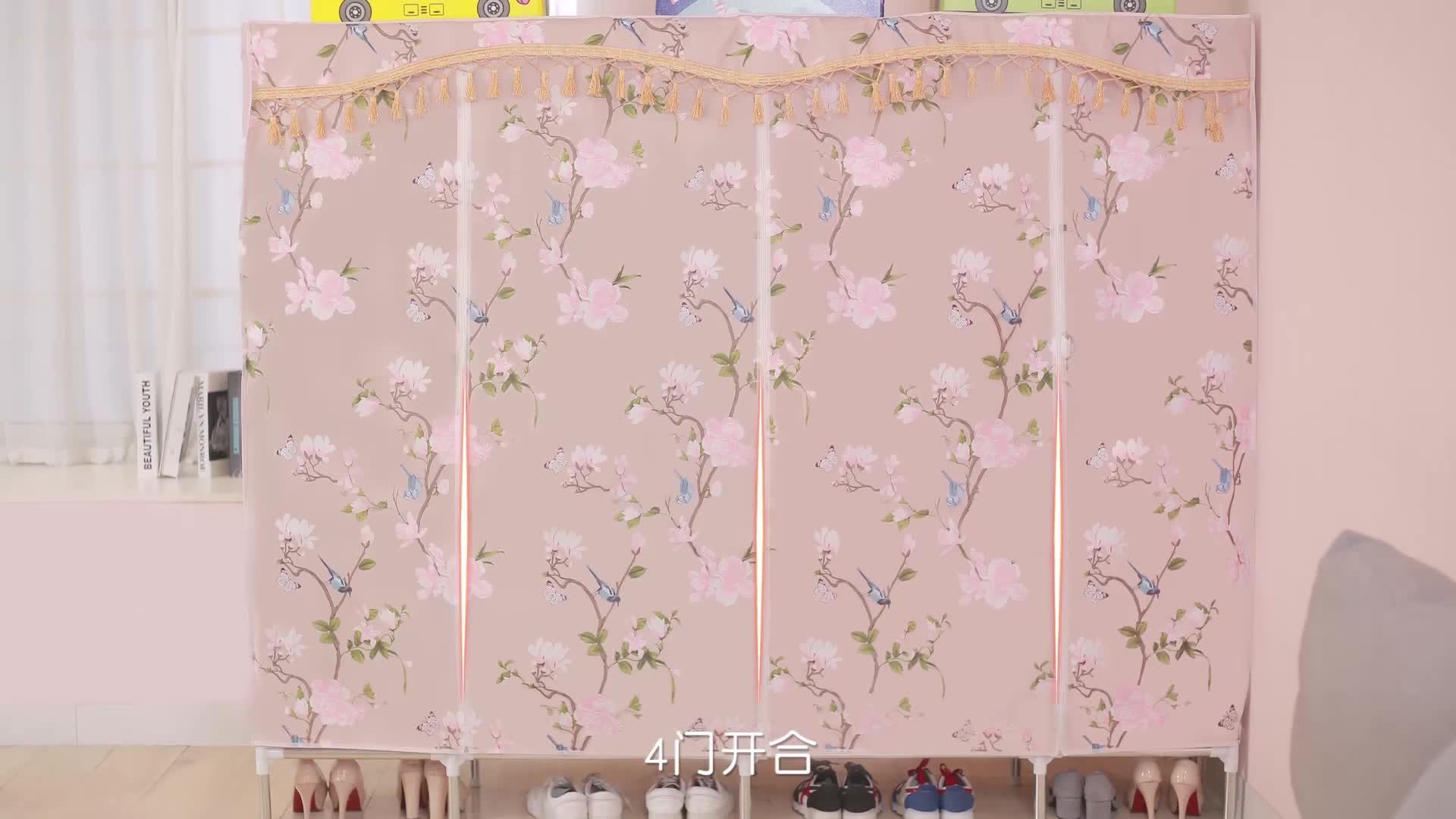 168*45*168CM size folding fabric plastic wardrobe bedroom closet cabinet steel frame C1703