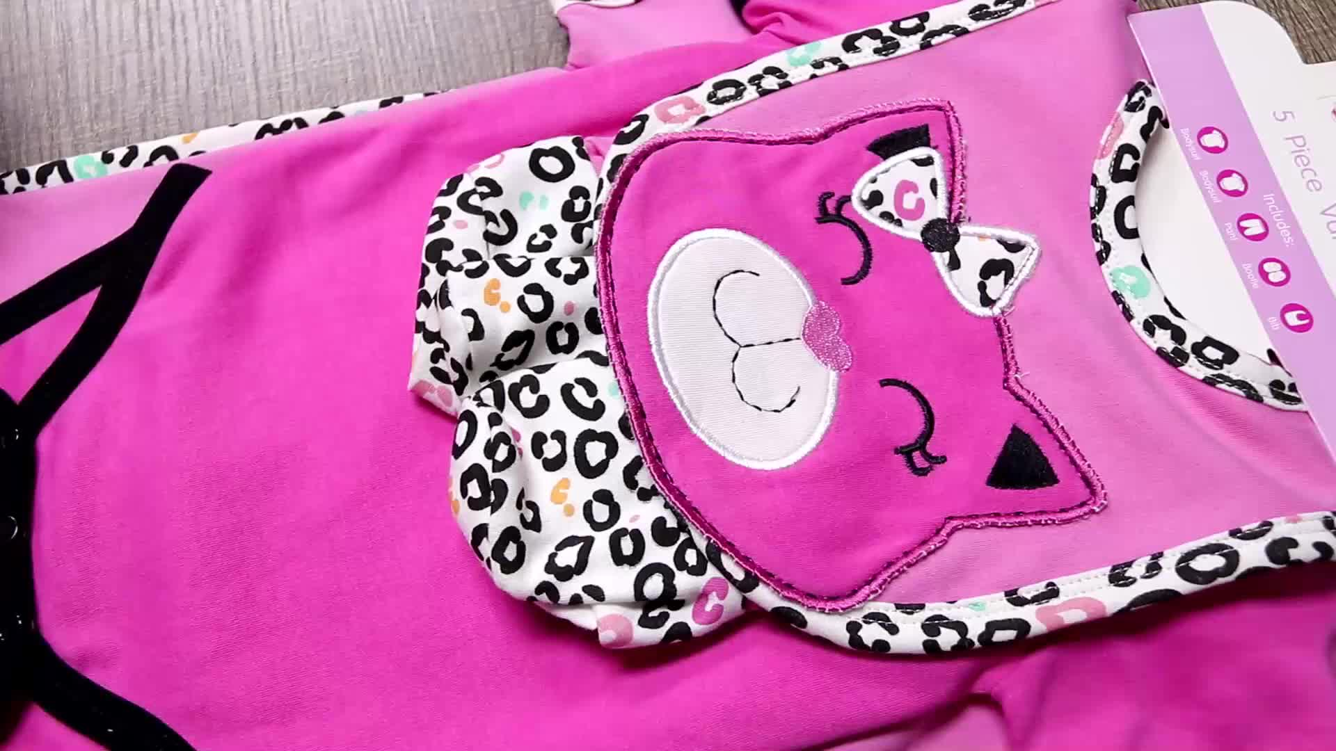 Custom logo animal printed cotton baby clothing red baby dress girls