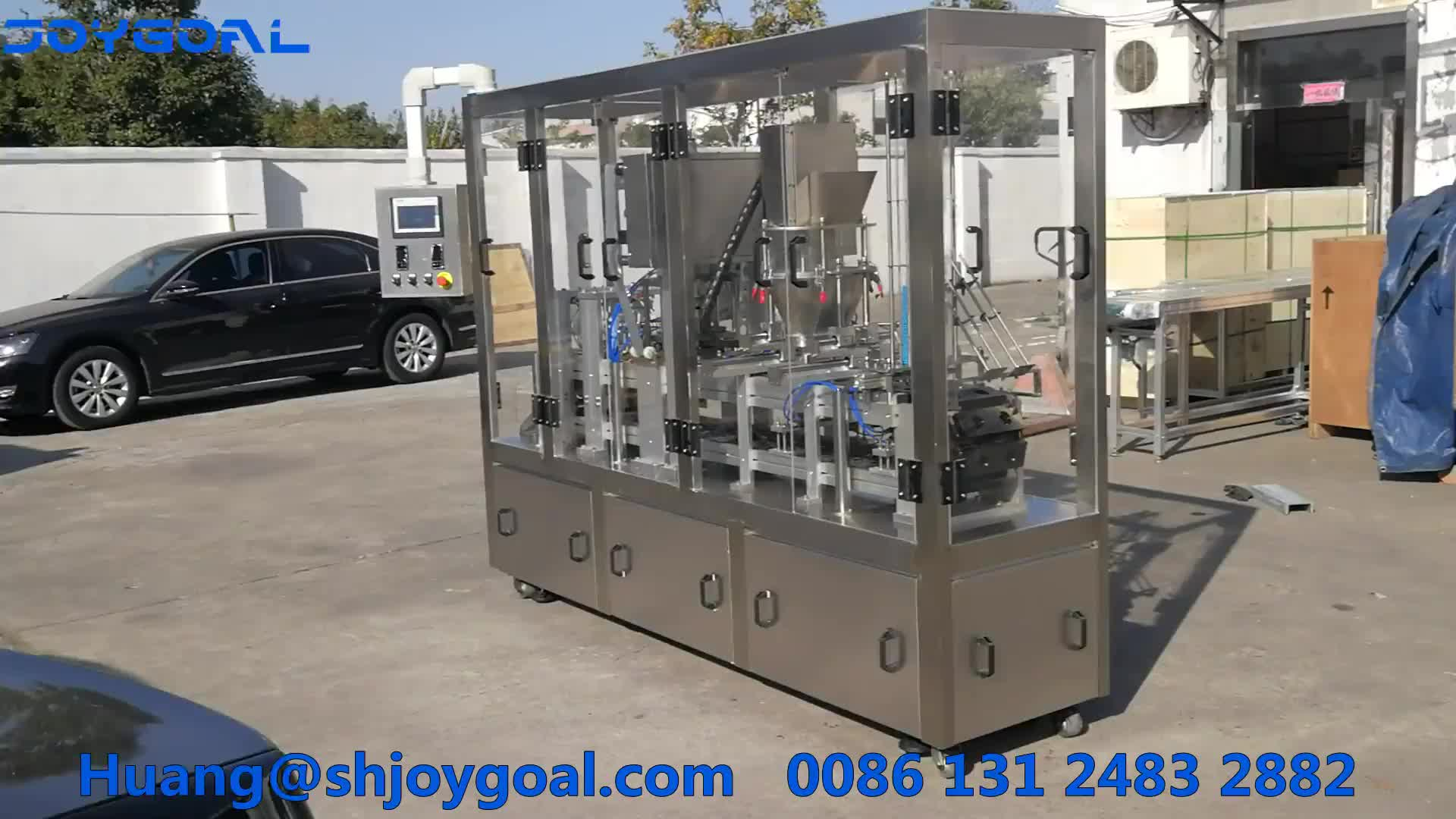 JOYGOAL Automatic nespresso coffee capsule filling and sealing machine with nitrogen flushing [ Roll film, punch cutting ]