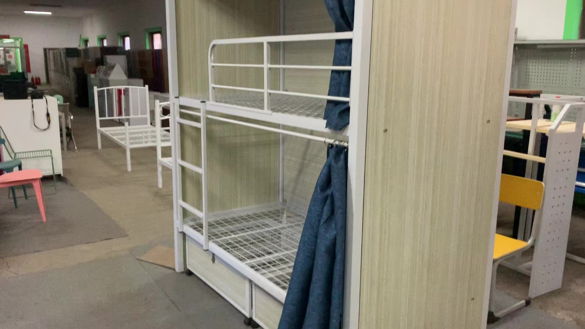 Steel bed double deck bunk bed for adult steel tube double beds metal bed